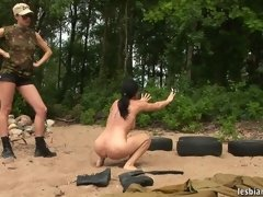 Special outdoor training of a nude female... lesbian xxx