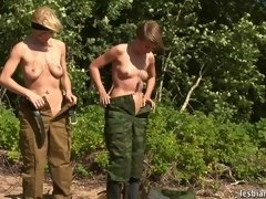 Soldiers fulfill all tasks given by a... lesbian xxx