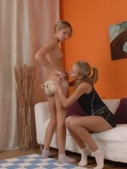 Lesbian trainer and trainee do exercises... lesbian xxx