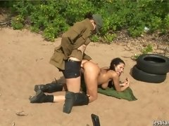 Lesbian officer straponing a juggy soldier lesbian xxx